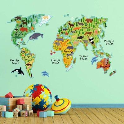 Crearreda Wereldkaart muursticker met dieren