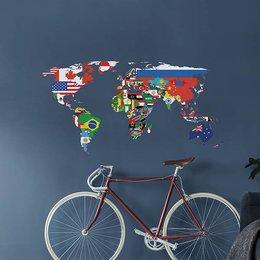 Crearreda Wereldkaart muursticker Vlaggen