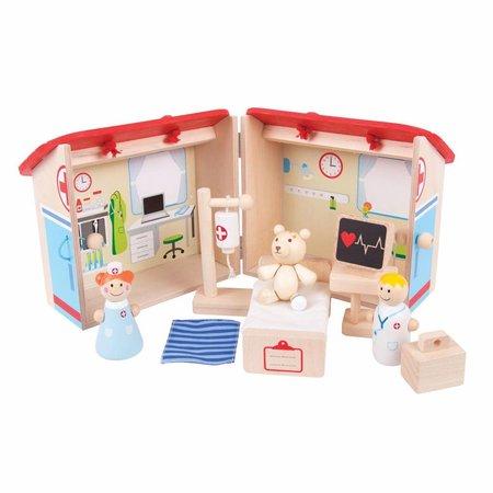 Draagbaar houten speelgoed ziekenhuis 11-delig