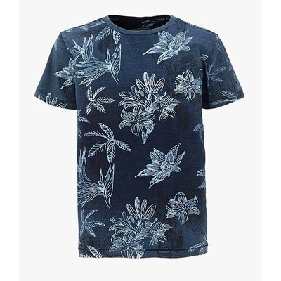 Petrol Industries shirt vintage dark denim blue flowers