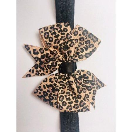 elastieken  haarband met luipaard strik