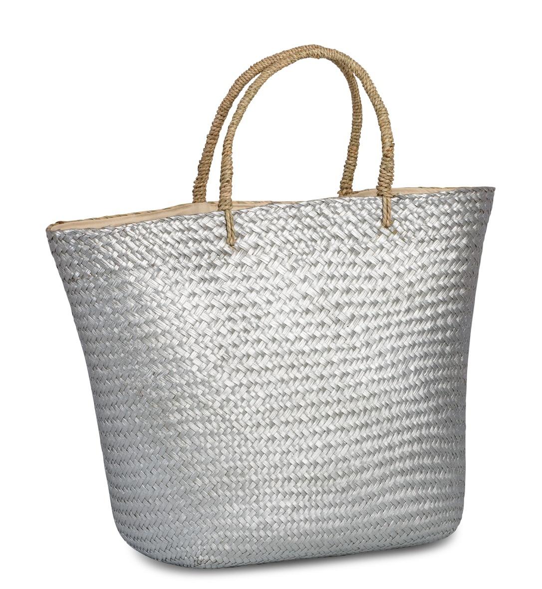 98de86bbb33 Grote Rieten Shopper tas zilver - ideaal voor het strand ! - Roos ...