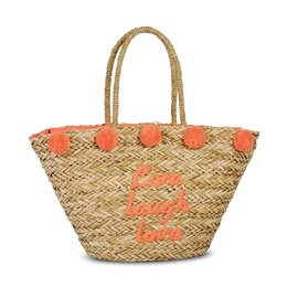 Fabrizio Grote Rieten Shopper met rits Live Love Laugh