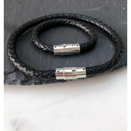 Kaya Leren heren armband - met graveren
