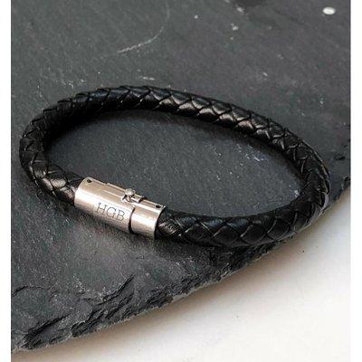 Amore  leren heren armband - met graveren