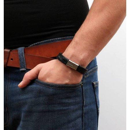 Kaya Mannen armband  Graveren Rundleer