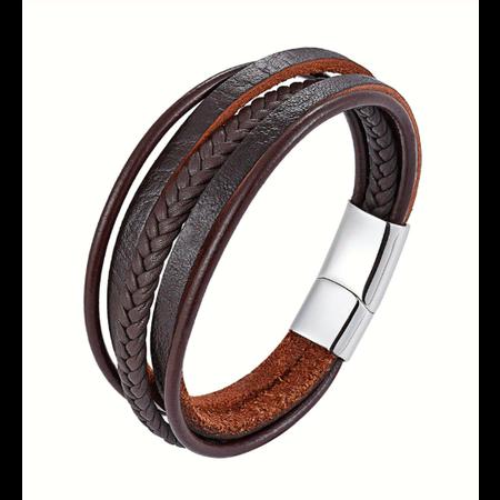 Stoere heren armbandset bruin leer  met magneetsluiting