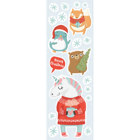 Crearreda Kerst Muur/Raam stickers Unicorn