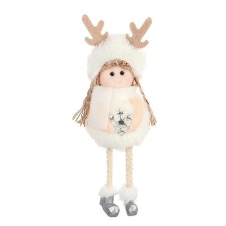 ToyToy Kerst Engeltje Pluche wit/zilver