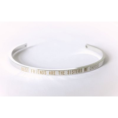 "Statement armband "" Best Friends"" in zilver"