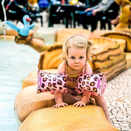 The Essentials Rosé gouden panterprint zwembandjes baby