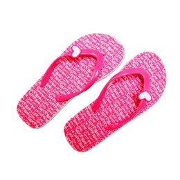 SuperTrash slippers fluo pink met logo