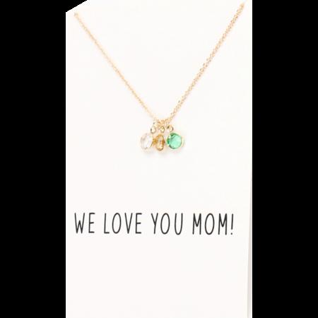 Love You Mom ketting op wenskaart goud