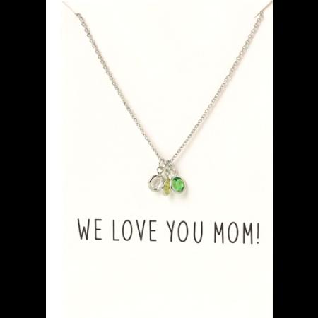 Love You Mom ketting op wenskaart zilver