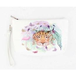 Rafa Clutch/Toilettas Leopard and Flamingo