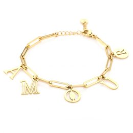 Michelle Bijou Stainless steel gouden armband Amour grote schakel