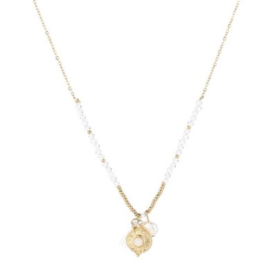 Michelle Bijou Stainless steel ketting met gouden kraaltjes en pareltje
