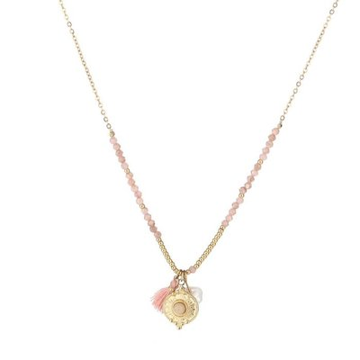 Michelle Bijou Stainless steel ketting met gouden kraaltjes en pareltje pink