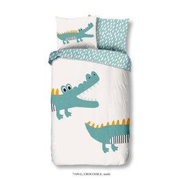 Good Morning  Kinder dekbedovertrek  stoere krokodil wit/blauw