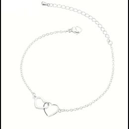 Yehwang Dutch Design Stainless steel armbandje twee harten zilver
