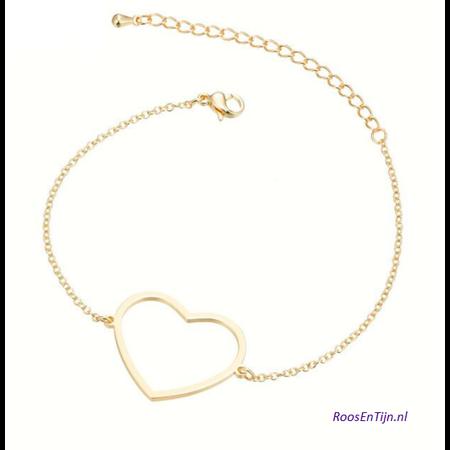Yehwang Dutch Design Stainless steel armbandje groot hart van goud