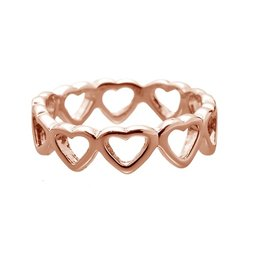 Yehwang Dutch Design stainless steel ring hartjes pink gold