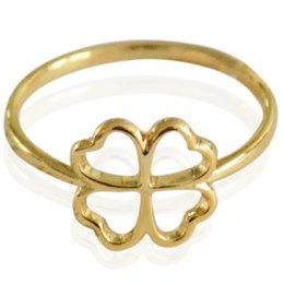 Yehwang Dutch Design geel of wit goud vergulde ring  klavertje vier