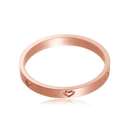 Yehwang Dutch Design rosé gouden stainless steel ring met hartjes