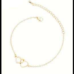Yehwang Dutch Design Stainless steel armbandje twee harten goud