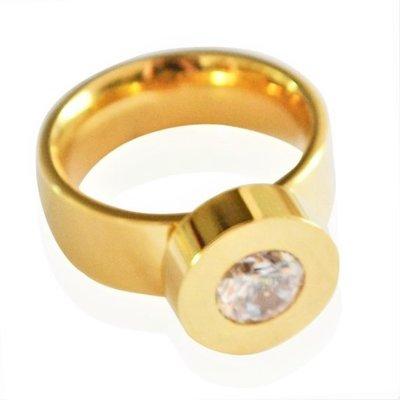 Yehwang Dutch Design grote damesring goud stainless steel met zirkonia