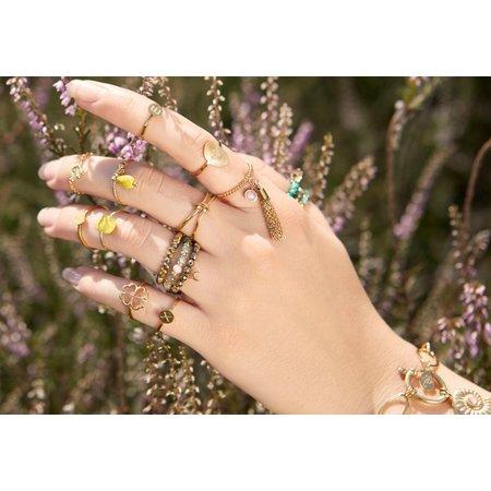Yehwang Dutch Design echt goud vergulde ring met half edelsteen div. kleuren