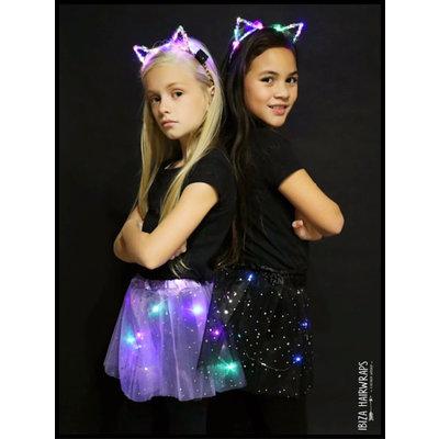 Ibiza hairlights Cat Diadeem met led lampjes pink leopard