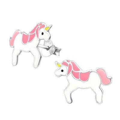 Amore  925 zilveren oorbellen unicorn paardjes