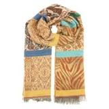heerlijke warme wollige sjaal oker leopard multi
