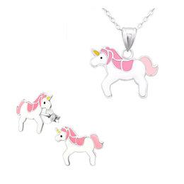 Amore  Set zilveren ketting + oorbellen Unicorn Eenhoorn