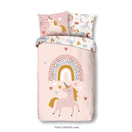 Good Morning  Kinder dekbedovertrek Rainbow Unicorn LOVE oud roze