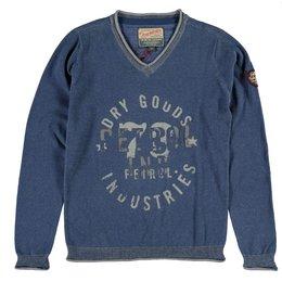 Petrol Industries fine knit sweater denim blue
