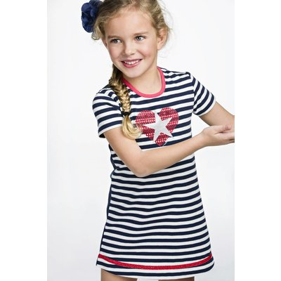 Bampidano stretch jersey jurkje silver and blue stripes met hart