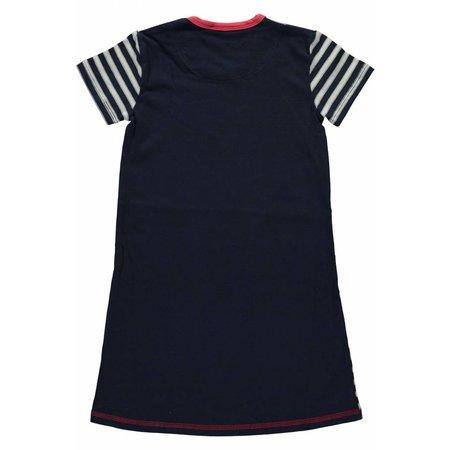 Bampidano stretch jersey jurkje silver and blue stripes met hart