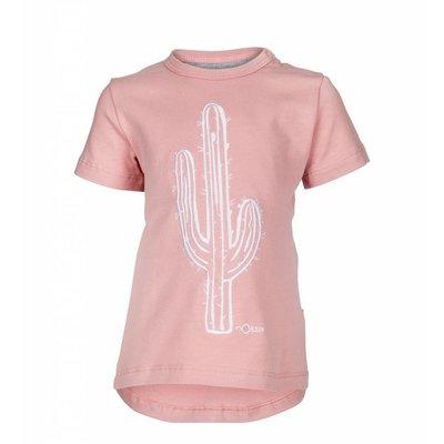 nOeser shirtje pink met geborduurde cactus