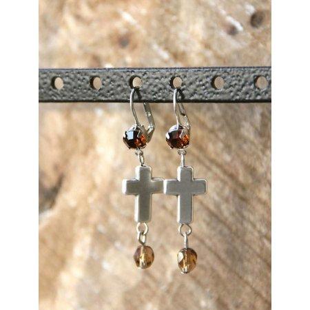 Love Ibiza zilveren oorbellen Swarovski Cross