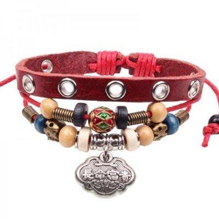 Love Ibiza Stoere leren armband rood 3 in 1