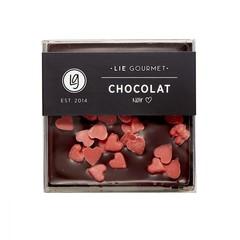 Lie Gourmet Donkere chocolade met rode hartjes