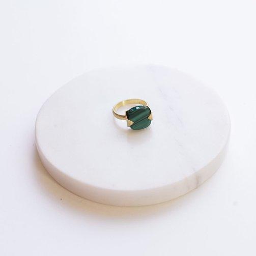 Ring Heera Gem Stone Malachite