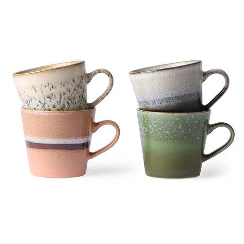 HKliving Keramiek 70's cappuccino mokken set van 4