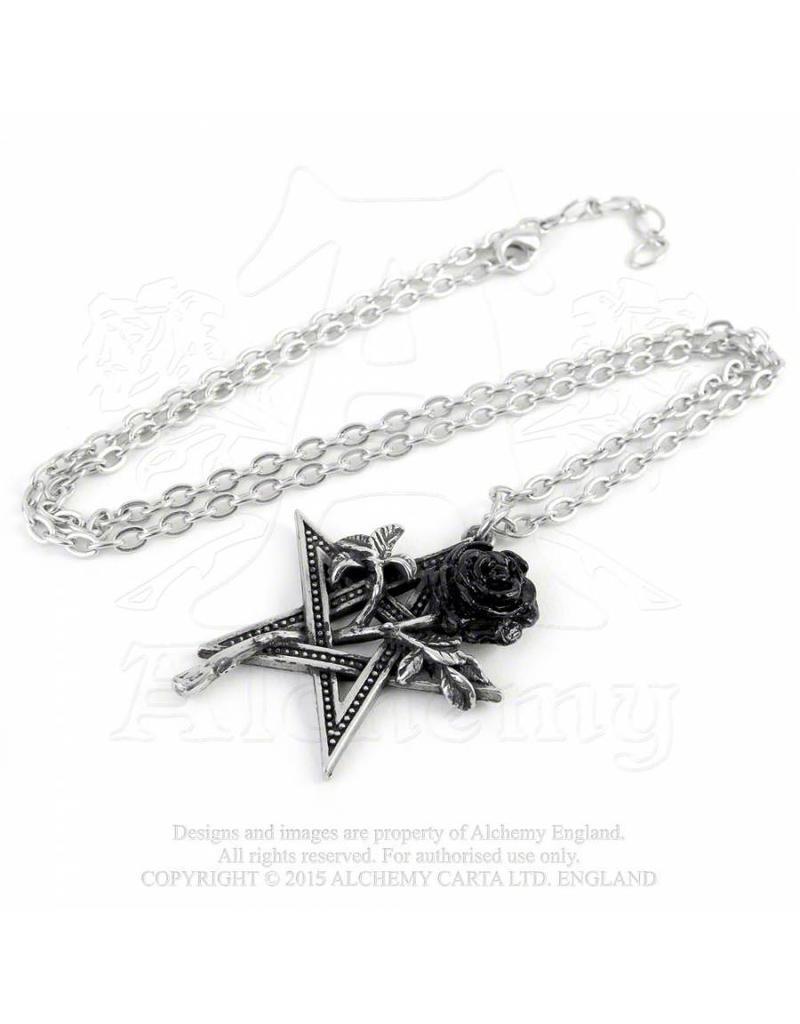 Alchemy Pentagramm mit Rose Anhänger mit Kette