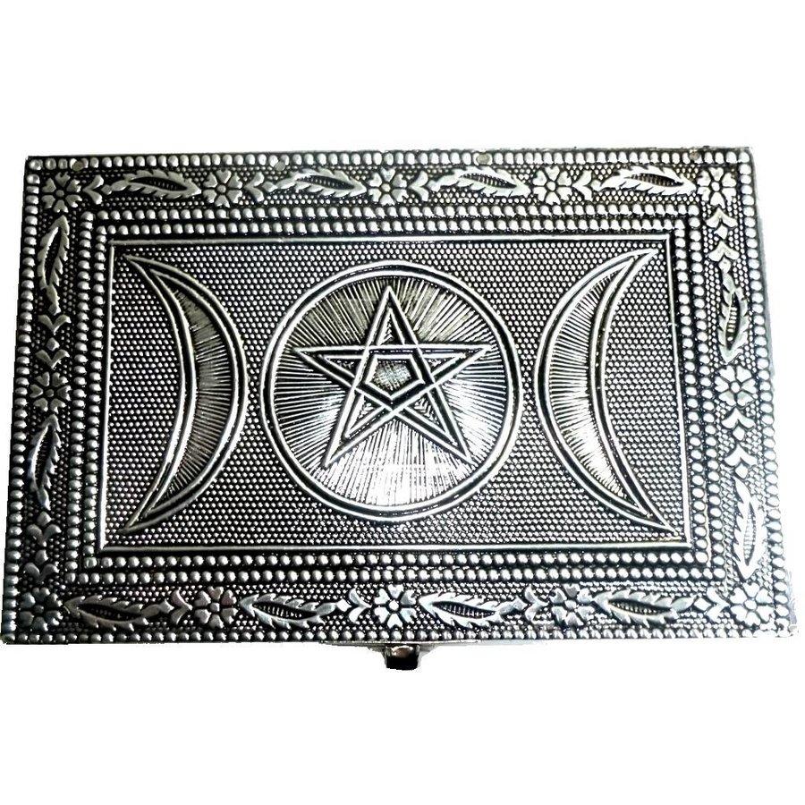 Metalldose mit Pentagramm und Dreifachmond-3