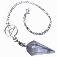 thumb-Bergkristall Pendel mit Pentagrammkette-2