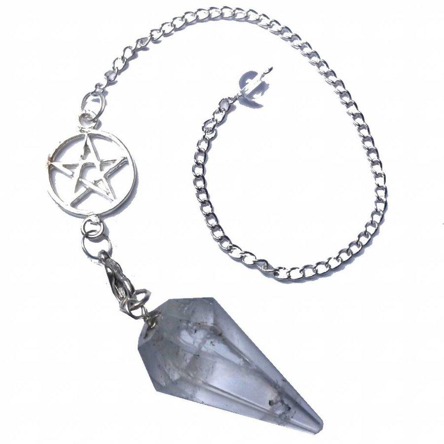 Bergkristall Pendel mit Pentagrammkette-3