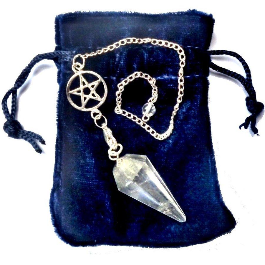 Bergkristall Pendel mit Pentagrammkette-4